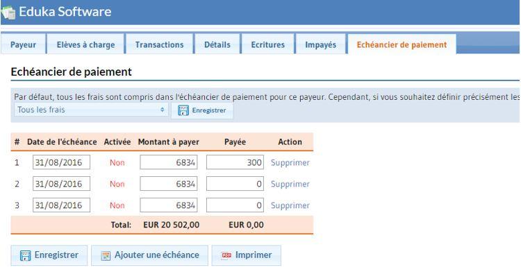 Portail Administratif - Échéancier de paiement
